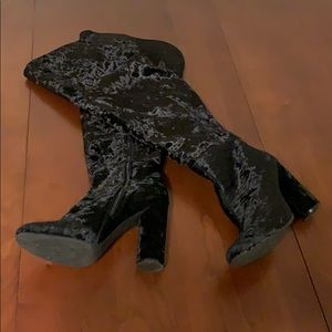 Black crushed velvet over the knee boots